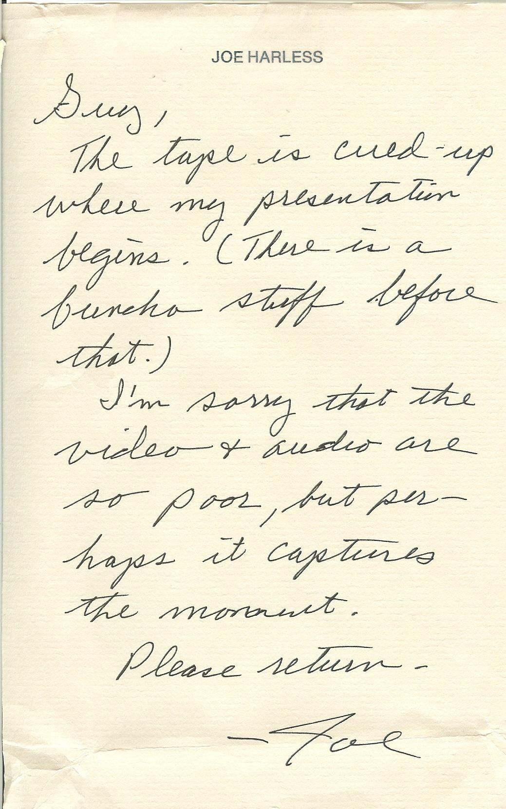 Note from Joe Harless re Wizard Tape